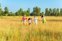 4 счастливых красивых дет бежать играющ двигать совместно в красивый летний день Стоковые Фотографии RF