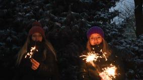 2 счастливых красивых предназначенных для подростков девушки имея потеху с бенгальскими огнями в зимних отдыхах видеоматериал