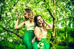 2 счастливых милых девушки сидя на яблоне цветения Стоковые Изображения RF
