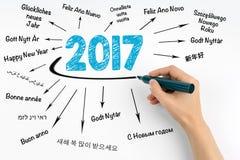 2017 счастливых Новых Годов в различных языках Рука с wri отметки стоковые изображения rf