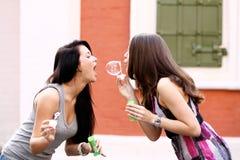 2 счастливых подруги с пузырями мыла outdoors Стоковое Изображение