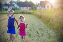 2 счастливых радостных веселых дет мальчик и брат и сестра девушки Стоковые Изображения