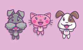 2 счастливых собаки и кот Стоковое фото RF