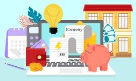Счета за коммунальные услуги и сохраняя ресурсы иллюстрация вектора