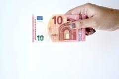 10 счетов евро в наличии Стоковая Фотография RF