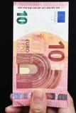 10 счетов евро в наличии Стоковые Фото