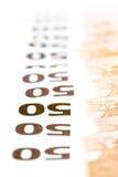50 счетов евро в ряд Стоковые Изображения RF