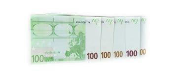 100 счетов евро изолированных на белой предпосылке банкноты c Стоковое Изображение