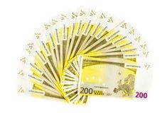 200 счетов евро изолированных на белой предпосылке банкноты c Стоковые Изображения