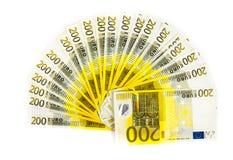200 счетов евро изолированных на белой предпосылке банкноты c Стоковые Фотографии RF