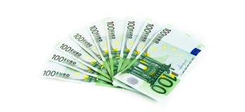 100 счетов евро изолированных на белой предпосылке банкноты c Стоковые Фото