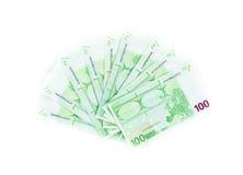 100 счетов евро изолированных на белой предпосылке Банкноты Стоковая Фотография