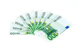 100 счетов евро изолированных на белой предпосылке банкноты c Стоковые Изображения RF
