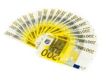 200 счетов евро изолированных на белой предпосылке банкноты c Стоковая Фотография RF