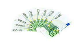 100 счетов евро изолированных на белой предпосылке банкноты c Стоковая Фотография RF