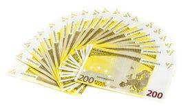 200 счетов евро изолированных на белой предпосылке банкноты c Стоковое Изображение