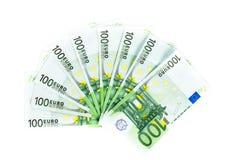 100 счетов евро изолированных на белой предпосылке Стоковое Фото