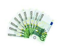 100 счетов евро изолированных на белой предпосылке Стоковая Фотография