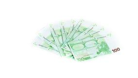 100 счетов евро изолированных на белой предпосылке Стоковые Изображения