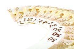 50 счетов евро на белой предпосылке Стоковое Фото