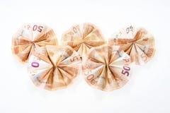 5 50 счетов евро сложенных в круглой форме Стоковые Изображения