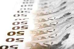 50 счетов евро штабелированных в ряд Стоковая Фотография