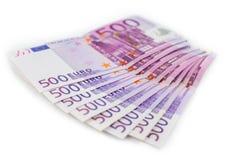 500 счетов денег евро, европейские наличные деньги валюты Стоковая Фотография RF