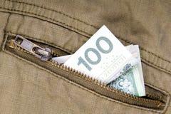 100 счетов злотого в карманн Стоковые Изображения RF