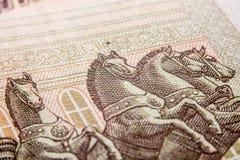 100 счетов рубля, лошади Стоковое Изображение