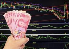 100 счетов юаней на предпосылке фондовой биржи Стоковые Изображения RF