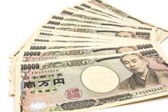 10 счетов японских иен тысяч Стоковые Фото
