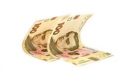 100 счетов hryvnia на белой предпосылке стоковое фото rf