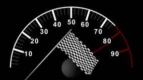 Счетчик автомобиля против checkered флага иллюстрация штока