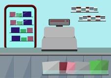 Счетчик магазина супермаркета Плоская иллюстрация Стоковые Изображения RF