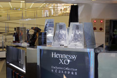 Счетчик xo Hennessy в магазине Тайбэя Стоковые Изображения