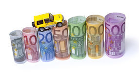 Счеты & автомобиль евро Стоковые Фото
