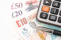 Счеты денег английского фунта Великобритании в различном значении Стоковое Изображение