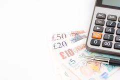 Счеты денег английского фунта Великобритании в различном значении Стоковое фото RF