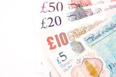 Счеты денег английского фунта Великобритании в различном значении Стоковая Фотография RF