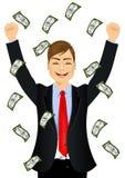 Счеты денег бизнесмена счастливые видя идя дождь Стоковая Фотография RF