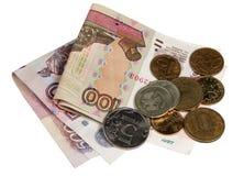 Счеты 500 и 100 рубли и монеток Стоковые Изображения