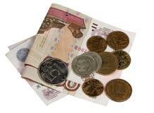 Счеты 500 и 100 рубли и монеток Стоковые Фотографии RF