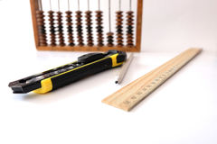 Счеты школы правителя карандаша Стоковая Фотография RF