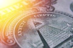 Счет доллара США, супер макрос, конец вверх по фото Детали счетов Стоковое Изображение RF
