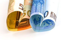 Счет евро 2 в форме сердца Стоковое Изображение