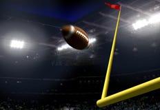 Счет цели футбола в стадионе на ноче стоковое изображение