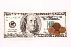 счет чеканит доллар 100 Стоковая Фотография RF