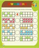 Считать игру для детей дошкольного возраста Воспитательный математическая игра Сосчитайте детали в изображении и выберите правиль иллюстрация штока