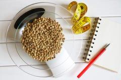 Считать калории, сало, протеин и углеводы в еде Семена чечевицы в масштабах кухни стоковое изображение