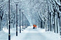 Счищатели в оранжевых жилетах идут вдоль снежного переулка стоковые изображения rf